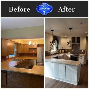 before and after image of a remodeled kitchen